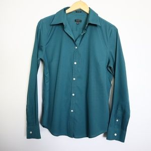 Talbots Wrinkle Resistant Teal Button Down 12